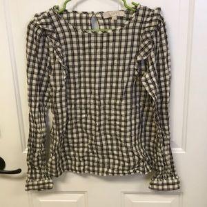 Loft checkered long sleeve blouse XS